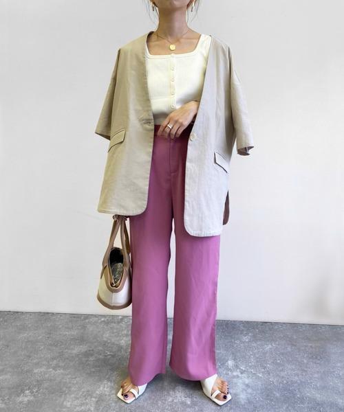 [Birthdayroom] リネンタッチノーカラー半袖ジャケット