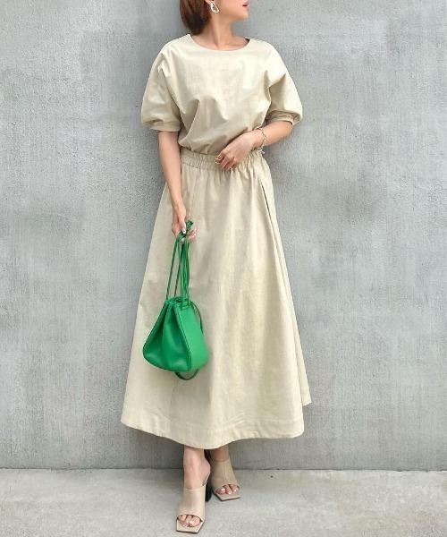 [飯豊まりえさん着用]ストレッチコットンロングフレアスカート
