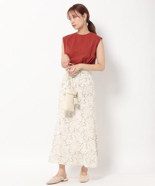 フラワー線描きマーメイドスカート