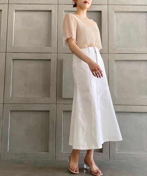 カラーヘビーツイル&デニムマーメイドスカート