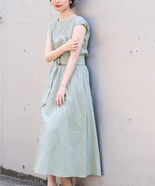 【natural couture】べっ甲Dかん太ベルト涼しげワンピース