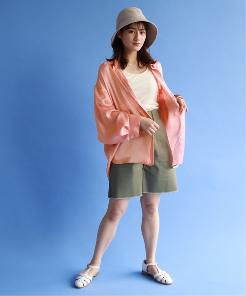 ENA] SLOBE citron. Funny サテンシャツ【手洗い可能】◆
