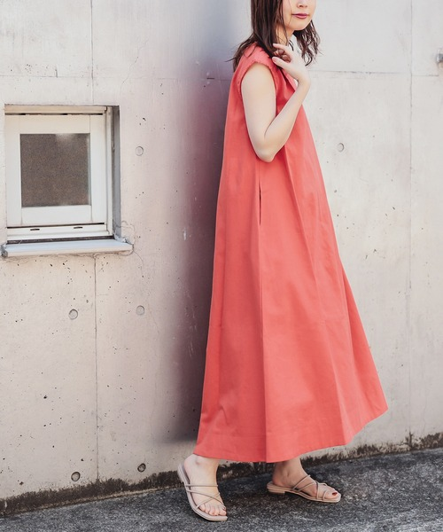 【natural couture】綿麻フリンジテントラインワンピース
