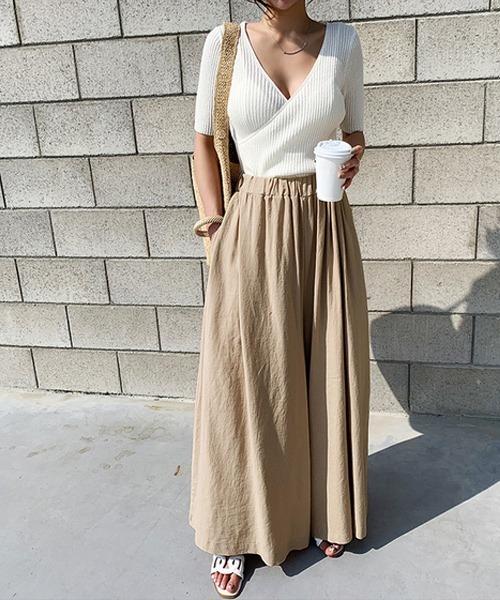 ガウチョパンツ ロングスカート風パンツ