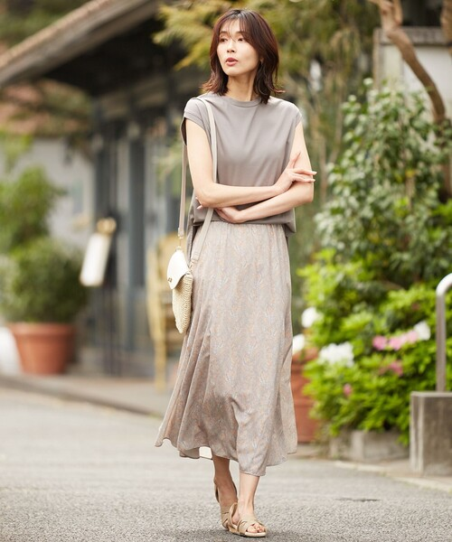 [L size ONWARD(大きいサイズ)] 【優木まおみ着用】ペイズリーフレアスカート