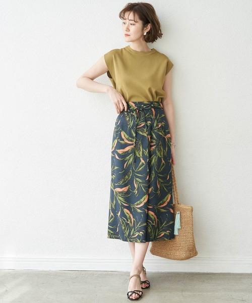 [ROPE' PICNIC] 麻調ボタニカル柄スカート