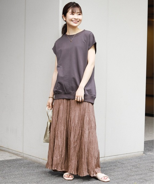 [IENA] コットンボイルクリンクルプリーツスカート【ウエストゴム/手洗い可能】◆