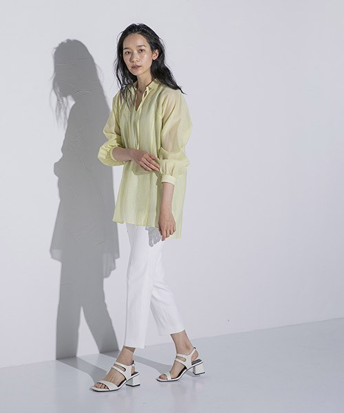 [LAUTREAMONT ONLINE SHOP] 【大きいサイズ】 シアー楊柳チュニックシャツ