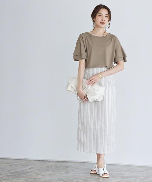 【Pierrot】フレア袖デザインTシャツ