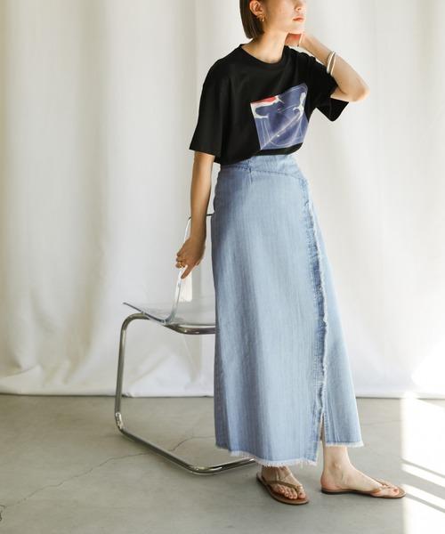 スリットデザインカットオフタイトスカート