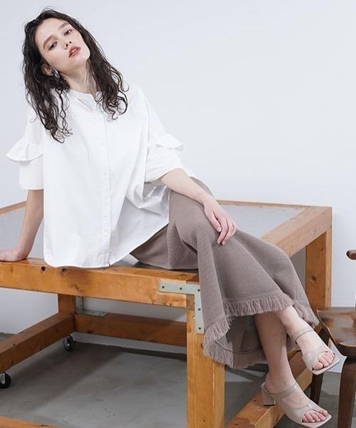 [ROYAL FLASH] SUGAR ROSE/シュガーローズ/編み地切り替えフリンジニットスカート
