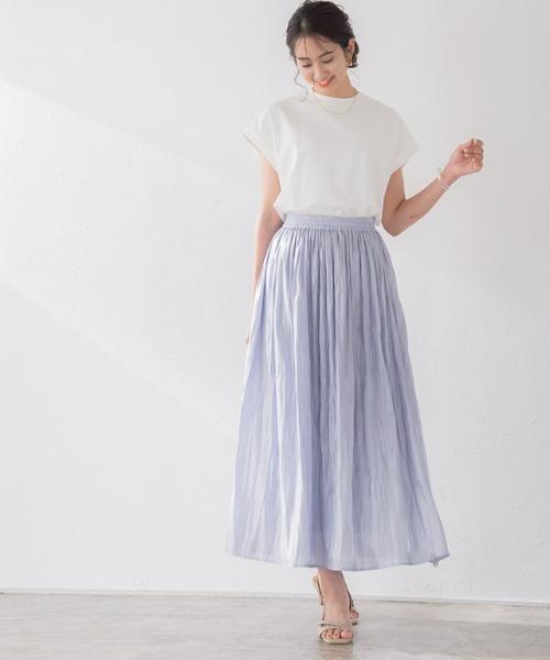 サテンワッシャープリーツスカート
