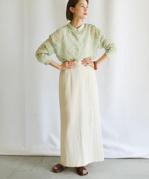 [select MOCA] 2021 SS スタンドカラーペイズリー柄シアーシャツ