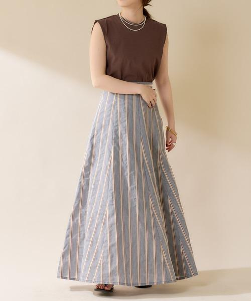 【WEB限定カラー:ブラック】切替ストライプフレアマキシスカート