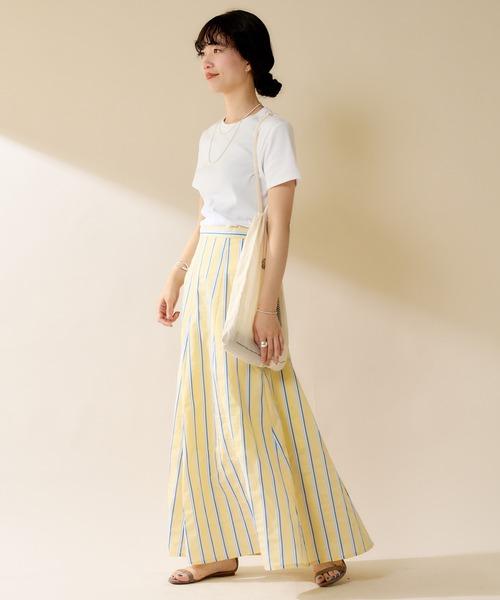 [SHENERY] 【WEB限定カラー:ブラック】切替ストライプフレアマキシスカート