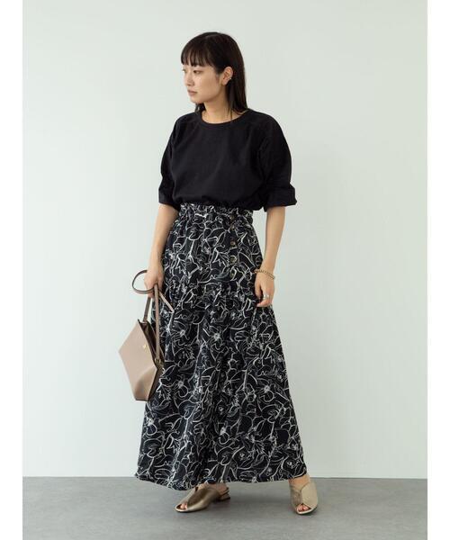 [Green Parks] 【WEB限定】<サイズ・丈調整>花柄ティアードスカート**