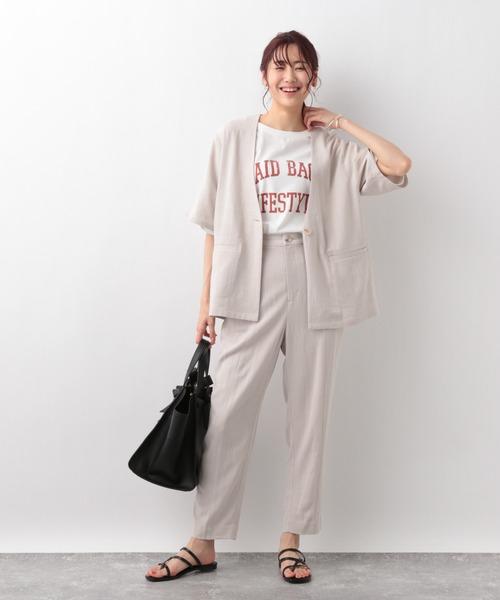 [GLOBAL WORK] リネンコンノーカラー半袖ジャケット【MATINEE LINE】/948017