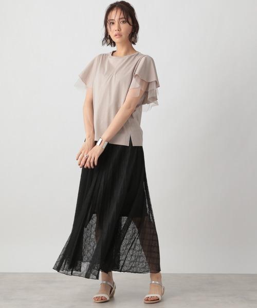 [Ezick] 幾何レースプリーツスカート