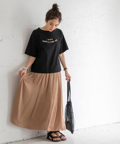 [coen] ドロップショルダーロゴプリントTシャツ