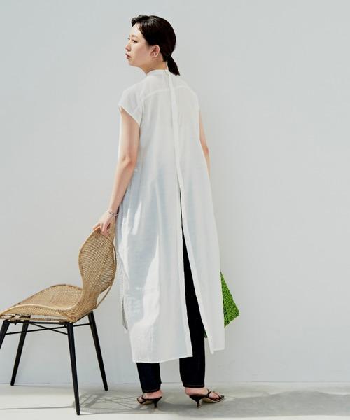 デザインキルティングシャツワンピース