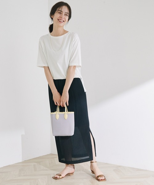 プリーツカットソータイトスカート