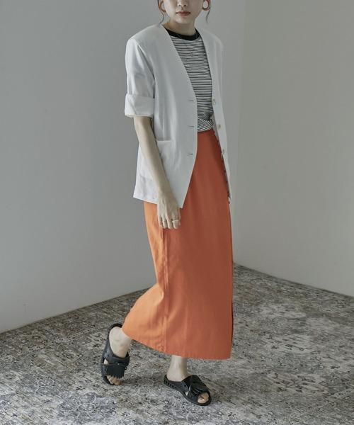 [Fashion Letter] リネンタッチノーカラージャケット