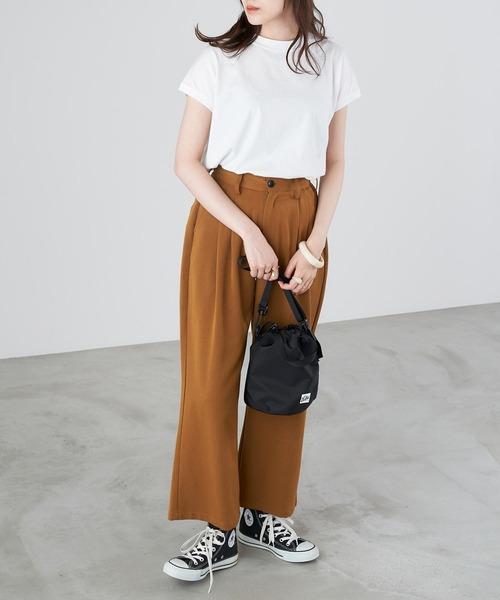 【Chaco closet】モックネックフレンチスリーブTシャツ