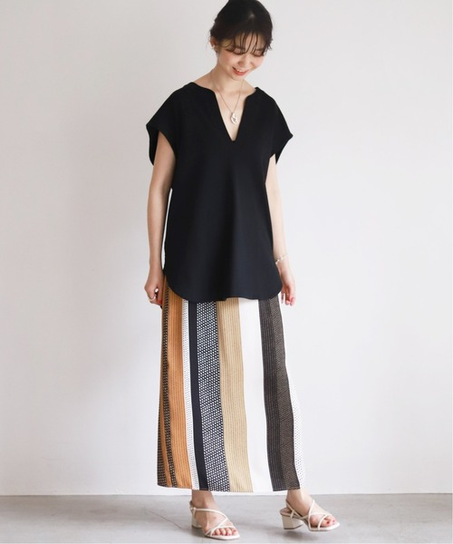 [IENA] マルチパターンストライプイージータイトスカート【ウエストゴム/手洗い可能】◆