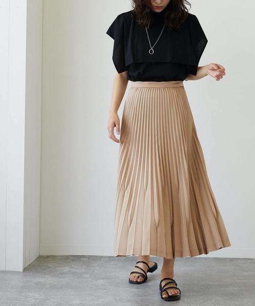 変形プリーツロングスカート