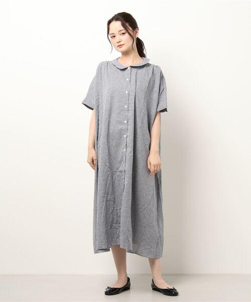 【Samansa Mos2】ギンガムチェックシャツワンピ