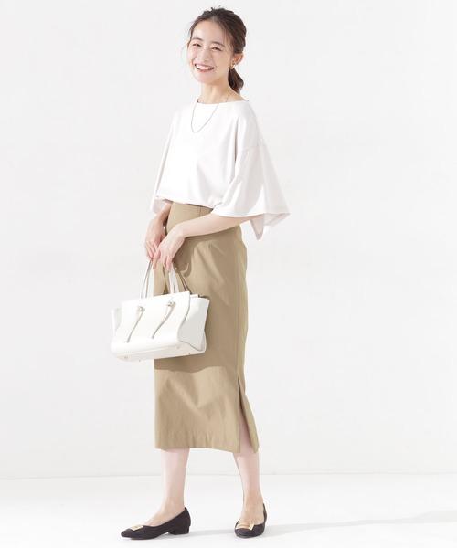 多機能ツイル サイドスリットタイトスカート