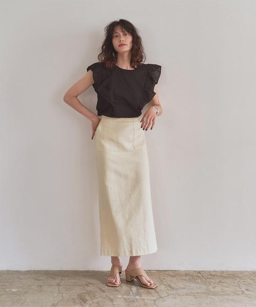 麻ロングタイトスカート