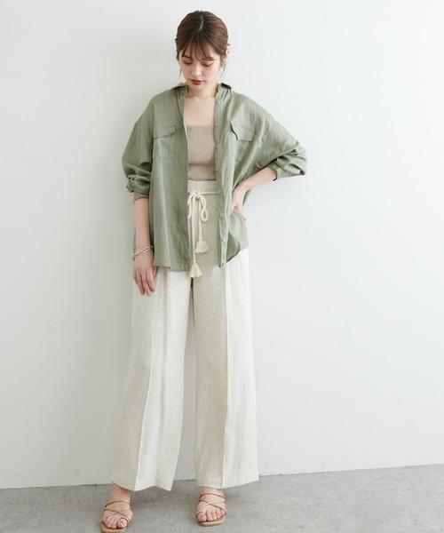 [natural couture] カシュクールにもなるカラーリネンシャツ