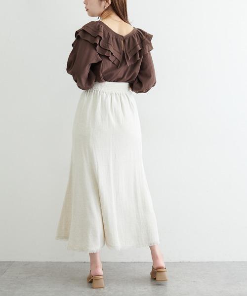 長さ変えられる麻混フリンジスカート