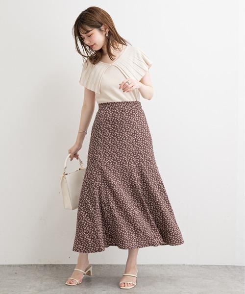 [natural couture] おしゃれモノトーンフラワースカート