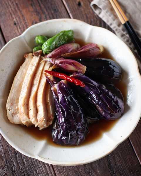 夏野菜の甘酢揚げびたし鶏むね添えレシピ