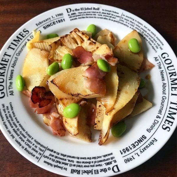 人気!枝豆とたけのこのだし醤油バター炒めレシピ