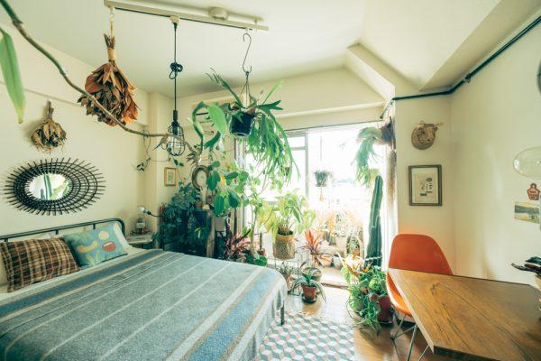 植物との暮らしを大切にした寝室レイアウト