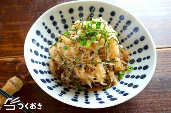 簡単調理!千切り大根の麺つゆおかかサラダ