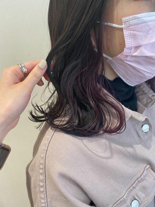 色っぽいチェリーピンクのインナーカラー