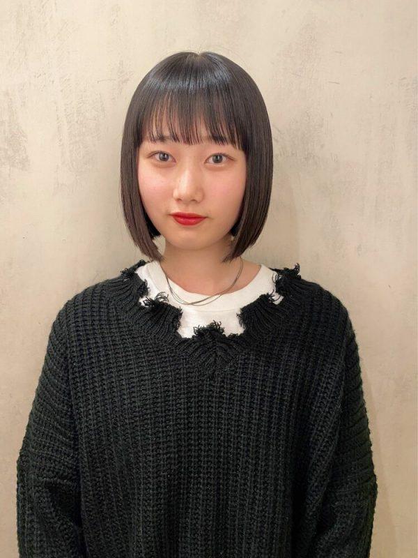 人気の韓国風黒髪ボブ4