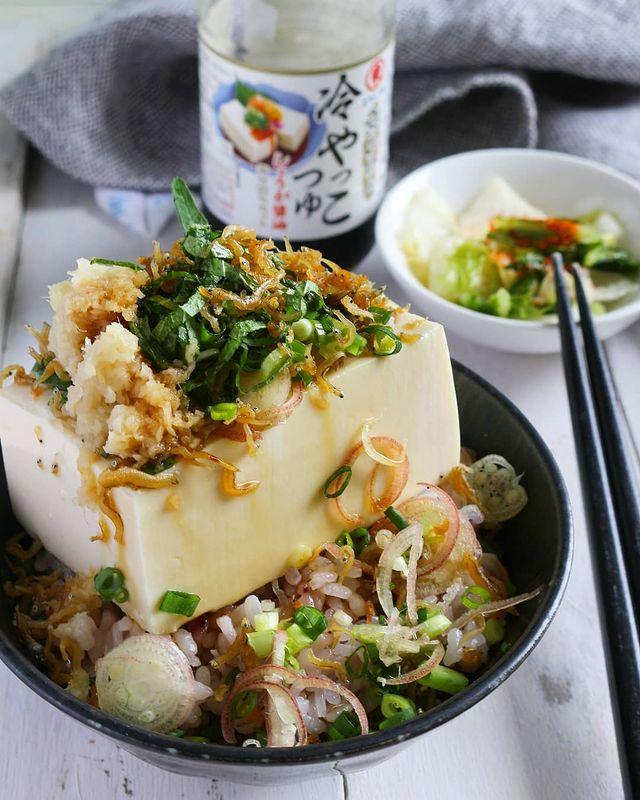 豆腐丼、冷奴、大葉、みょうが、ネギ、おろししょうが、ちりめんじゃこ。
