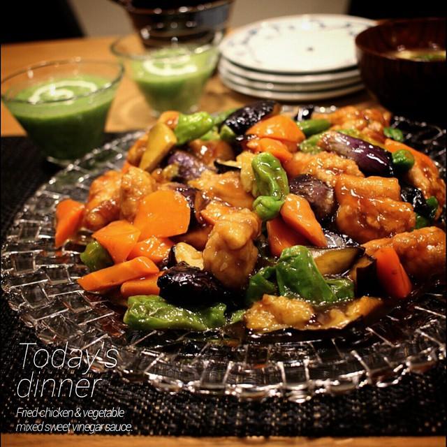 鶏肉と野菜の黒酢あん炒め