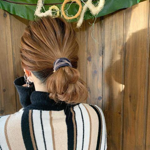 ワイヤーで作るお団子の前髪なし一つ結び