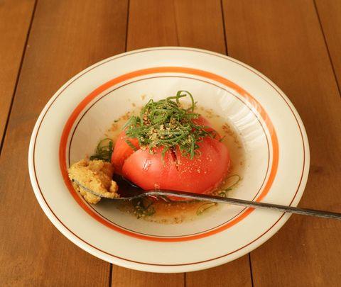 簡単ヘルシーメニューの即席トマトスープ