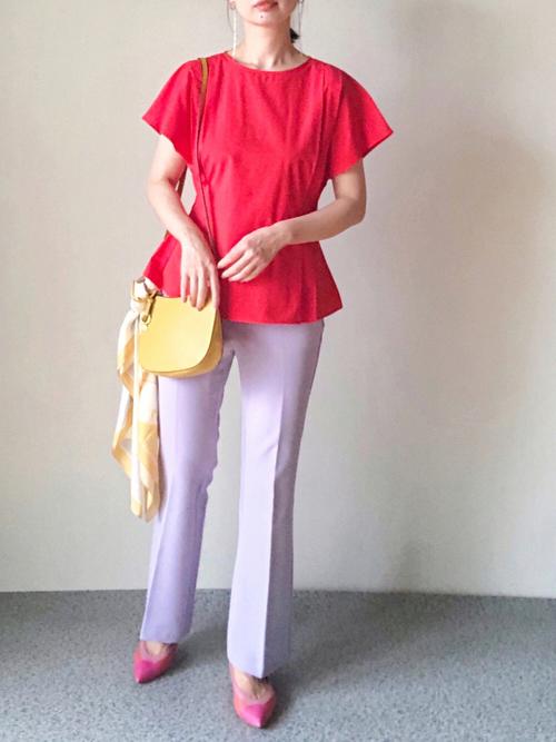 ZARA赤ブラウス×紫パンツの夏コーデ