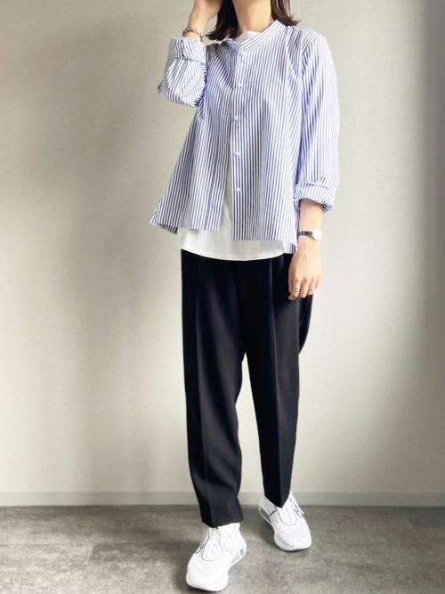ZARA黒パンツ×ストライプシャツの夏コーデ