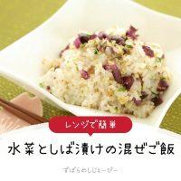 【レシピ動画】レンジで簡単「水菜としば漬けの混ぜご飯」
