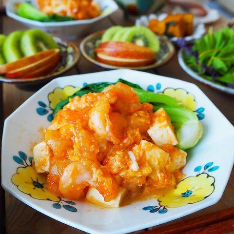 定番中華風レシピ!エビチリ豆腐