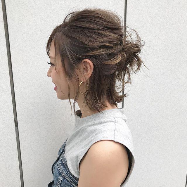 高さを出したハーフアップまとめ髪